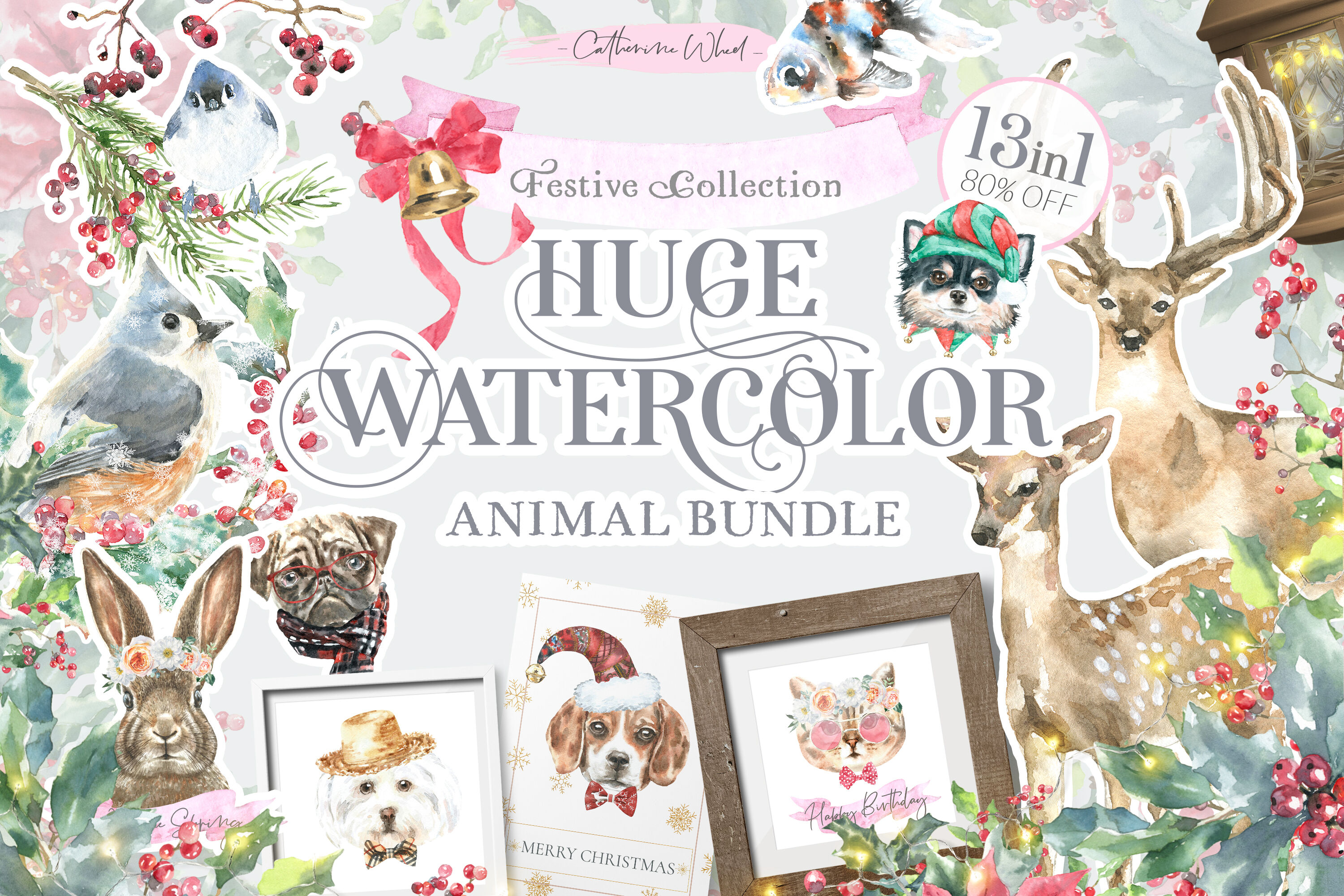 Watercolor Animals Bundle Sale Free 13 In 1 By Catherine Wheel
