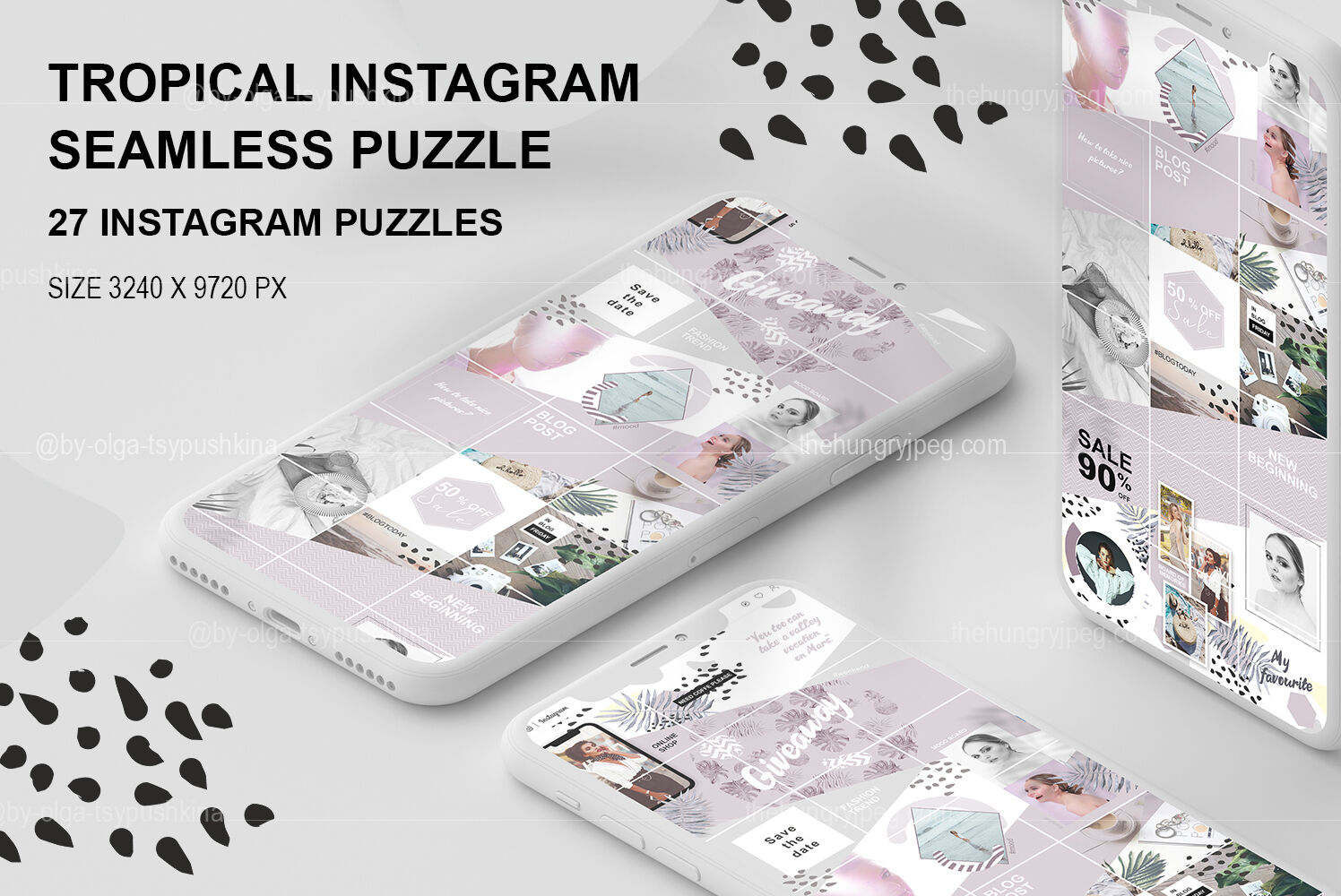 Tropical Instagram Seamless Puzzle By By Olga Tsypushkina