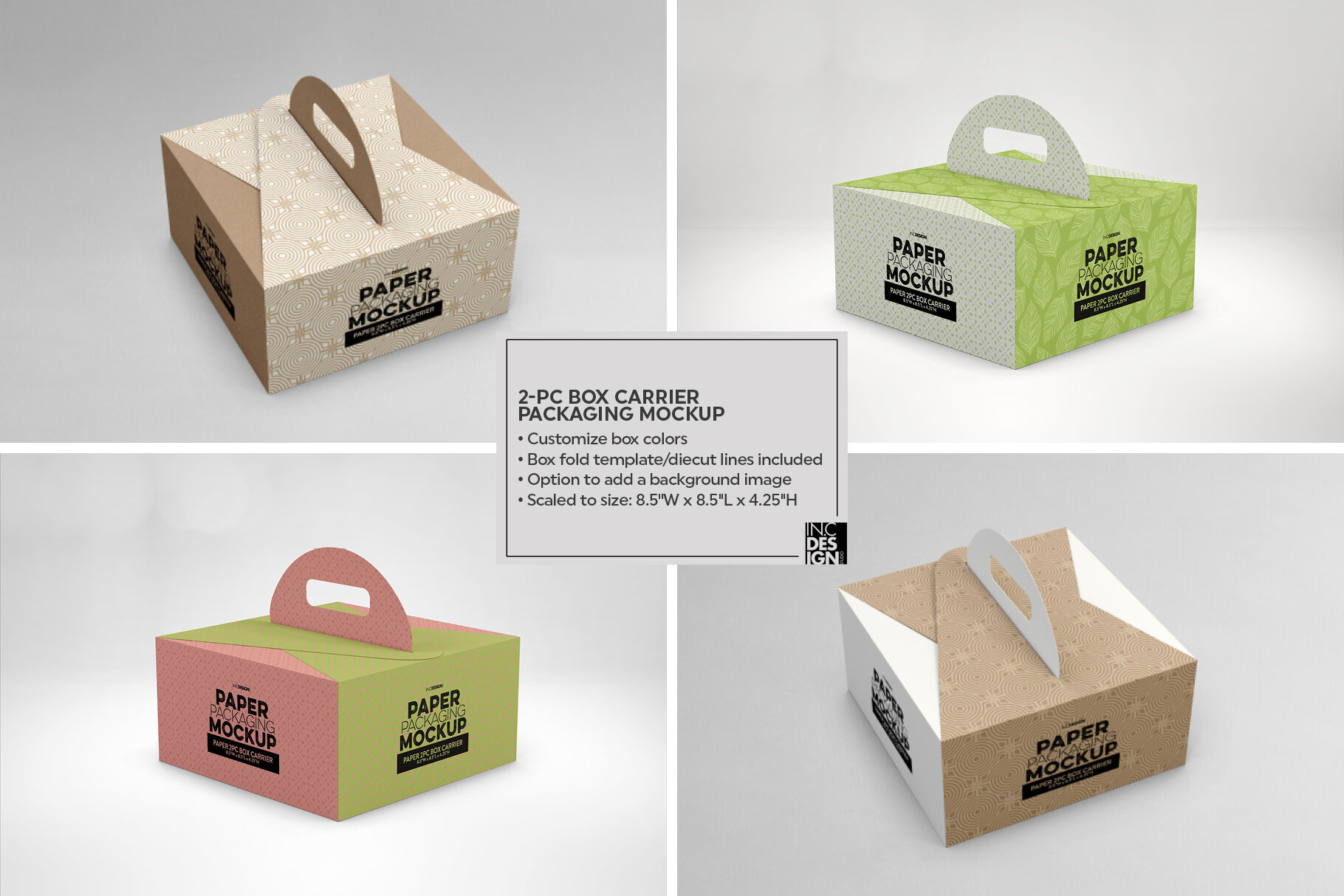 Paper Palette With Four Boxes Mockup
