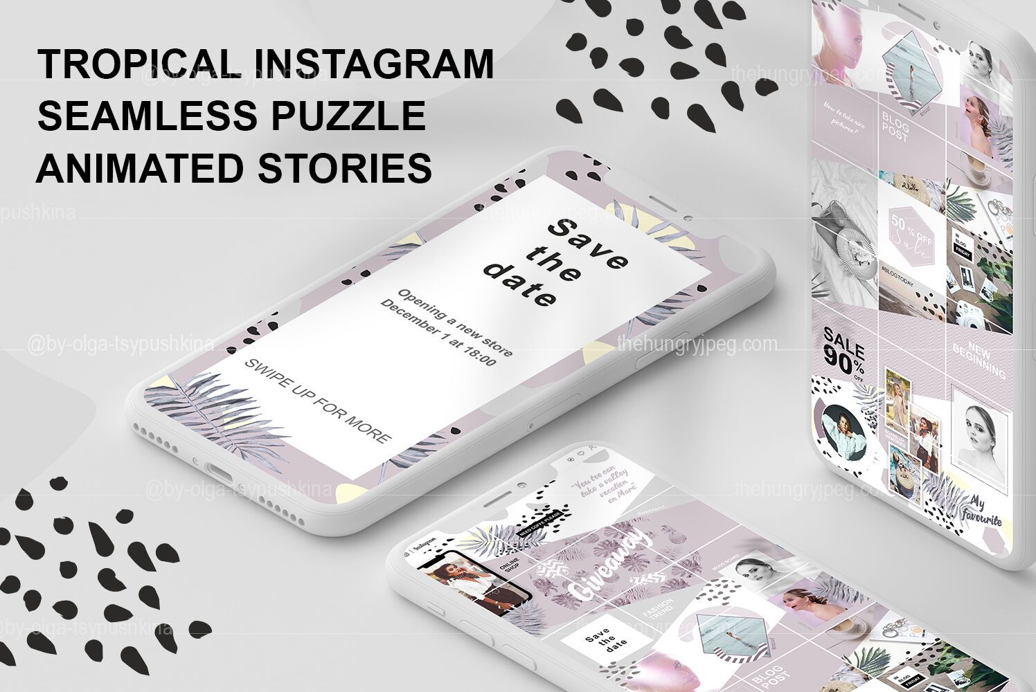 Tropical Instagram Seamless Puzzle And Animated Stories By By Olga