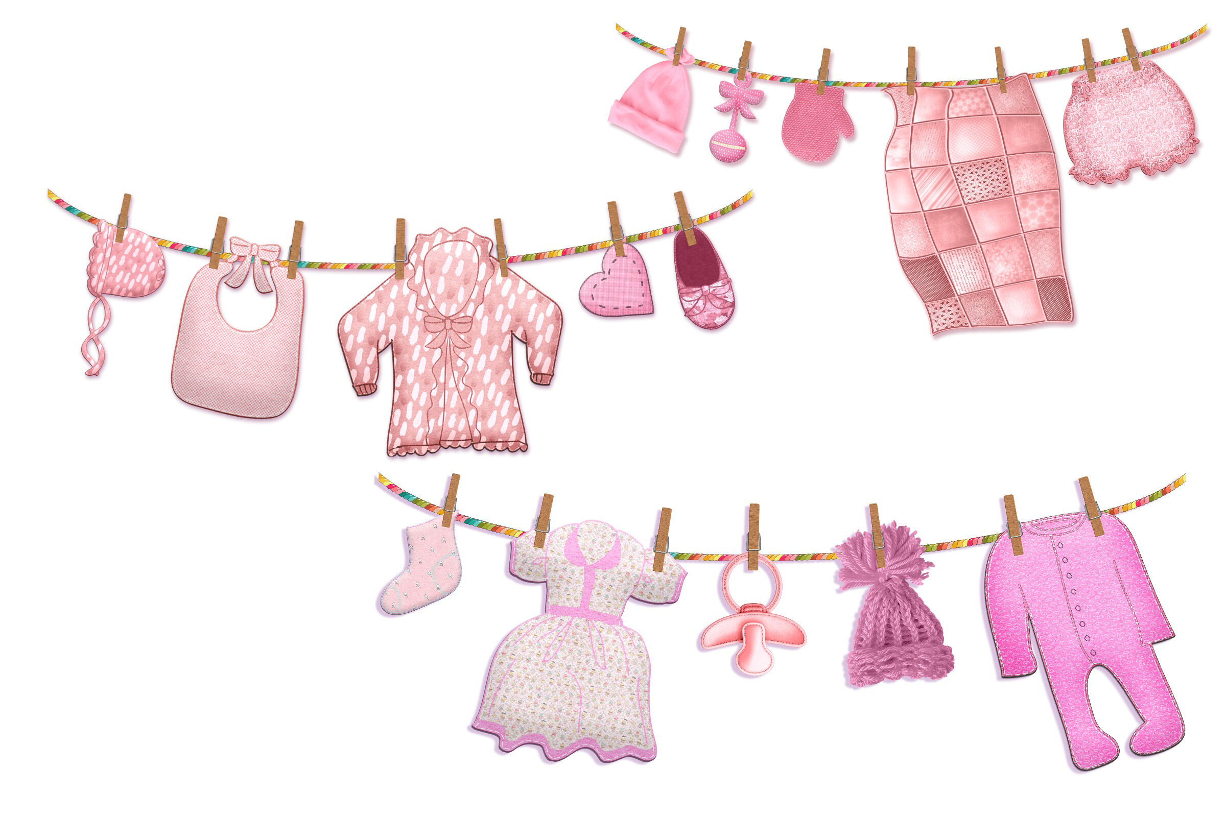 Baby Girl Clothes Line Clip Art By Me and Ameliè  TheHungryJPEG.com