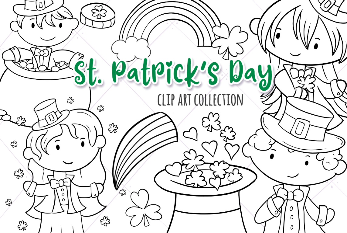 St Patrick S Day Digital Stamps By Keepin It Kawaii
