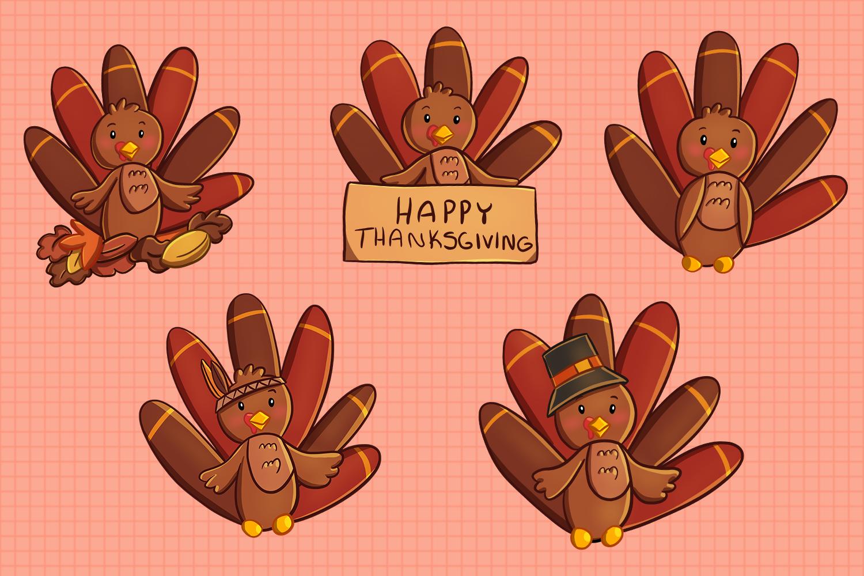 Cute Turkeys Clip Art Collection By Keepin' It Kawaii