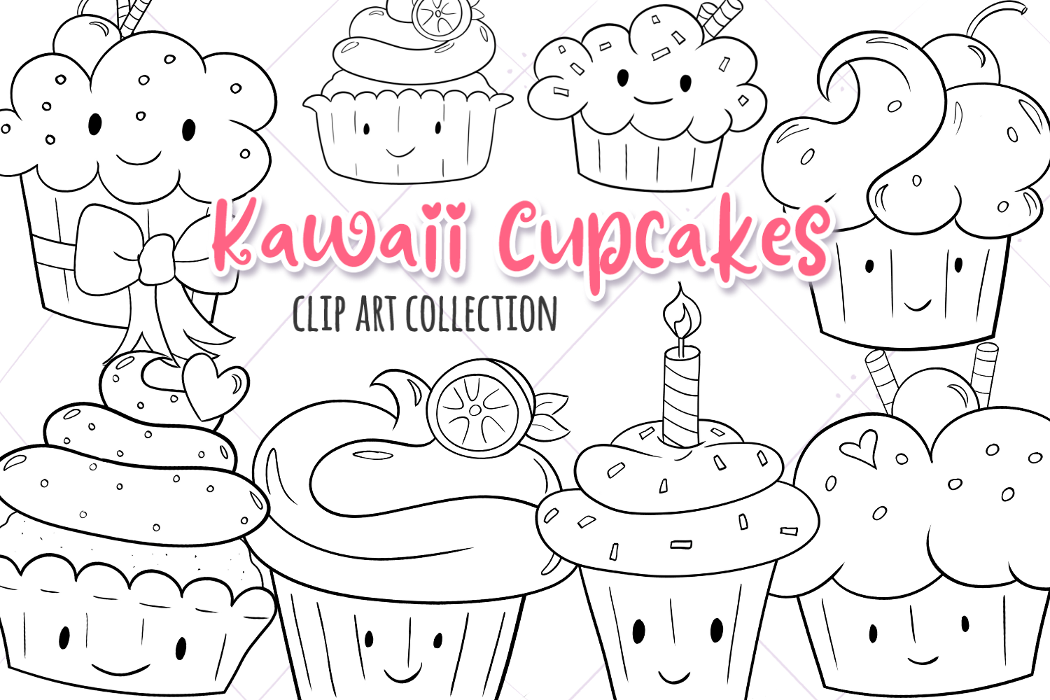 Kawaii Cupcakes Digital Stamps By Keepin It Kawaii