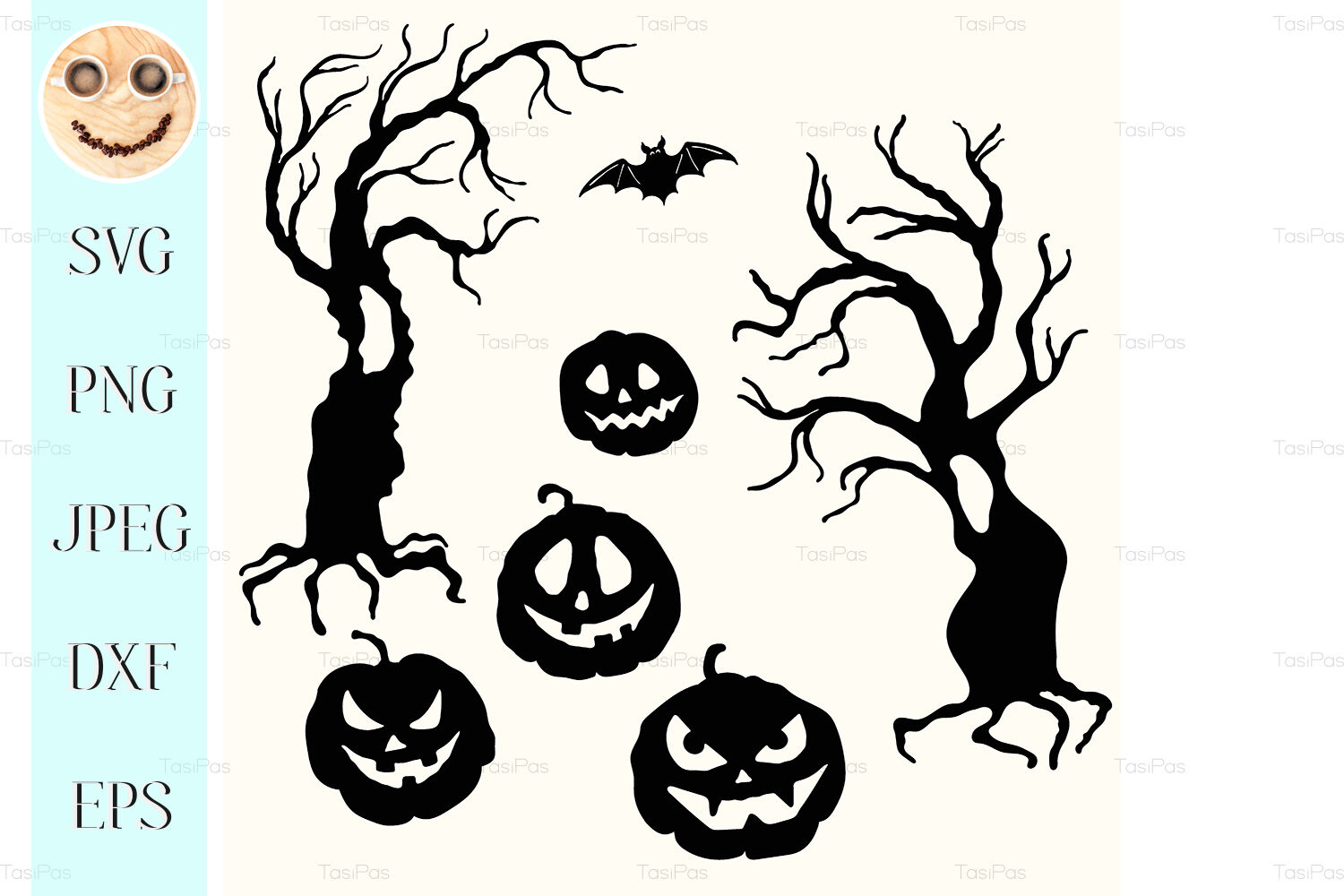 Halloween Pumpkin Lantern And Tree Stencil Template By Tasipas