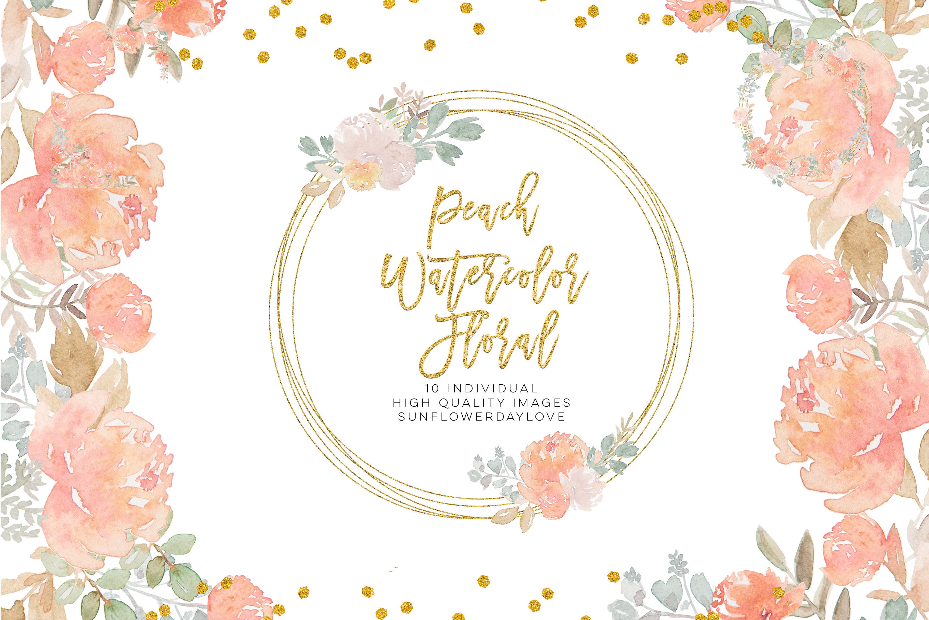 Fall Floral Clipart Dusty Rose Pink Peach Watercolor Floral