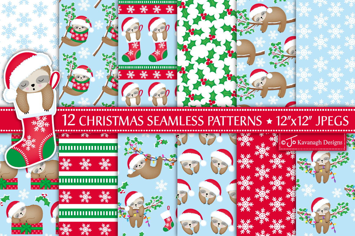 Christmas Sloth Digital Paper Christmas Patterns Cute Sloth P43