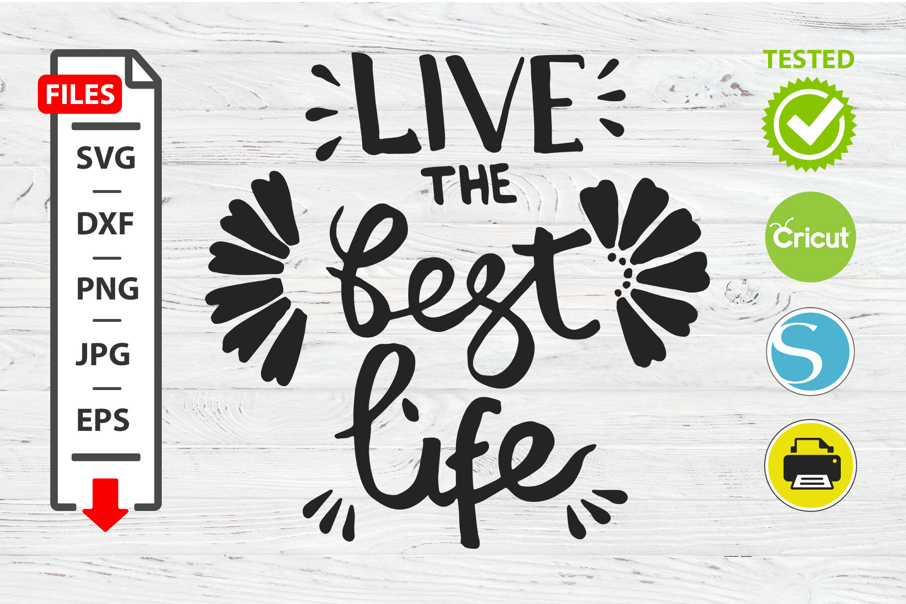 Live The Best Life Motivational Quote Svg Cricut Silhouette Design