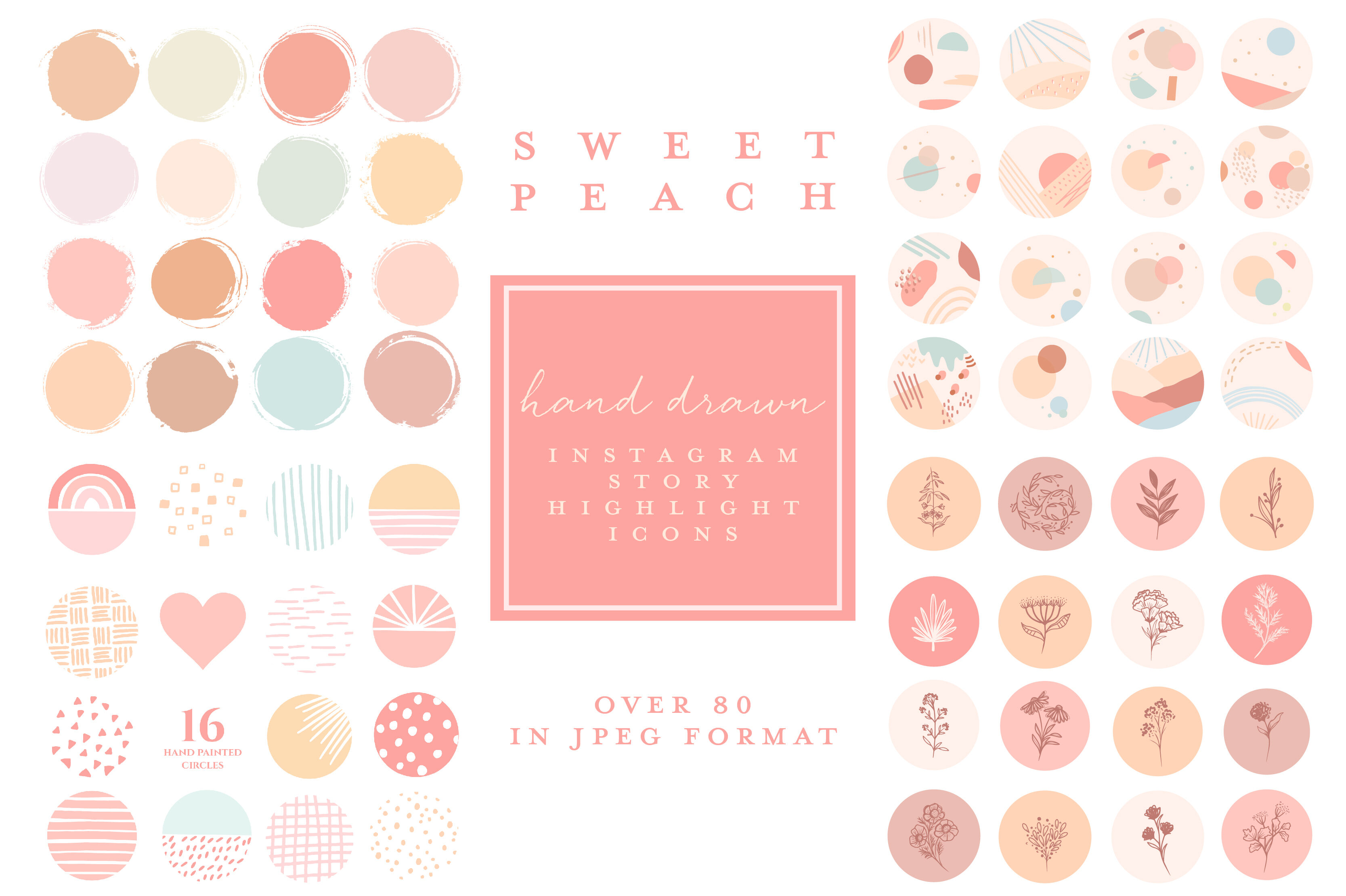 Instagram Highlight Covers Hand Drawn Feminine Peach By Beatrice