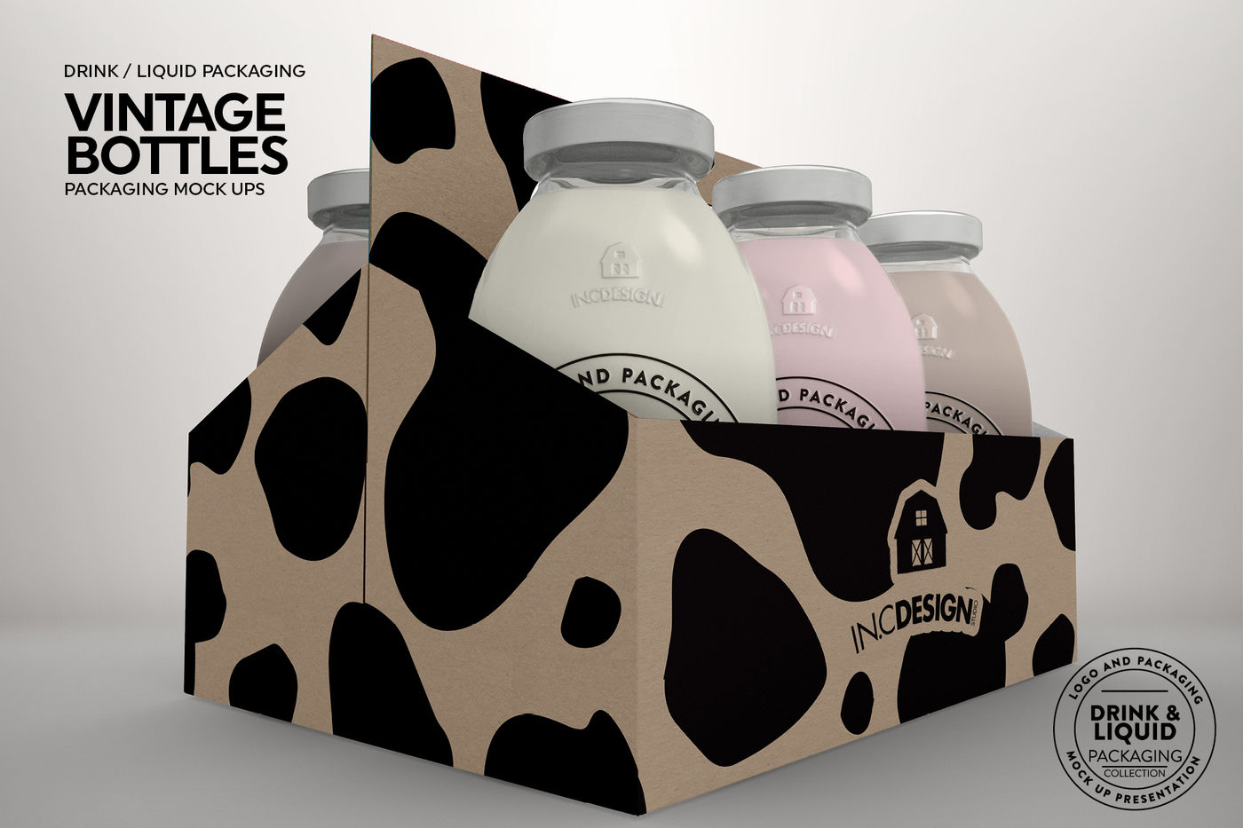 Download 4 Pack Matte Dairy Bottle Mockup Front View Yellowimages