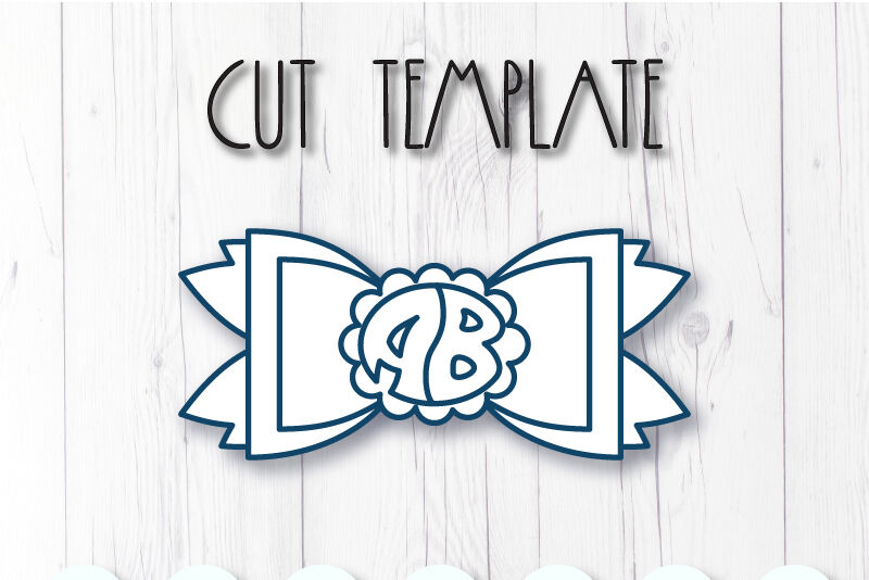 Two Letter Monogram Hair Bow Template Svg Dxf Pdf With Diy