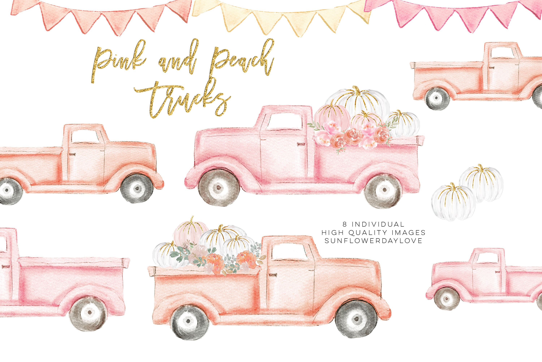 Autumn Truck Pink Pumpkin Harvest Truck Peach Harvest Truck By Sunflower Day Love Thehungryjpeg Com