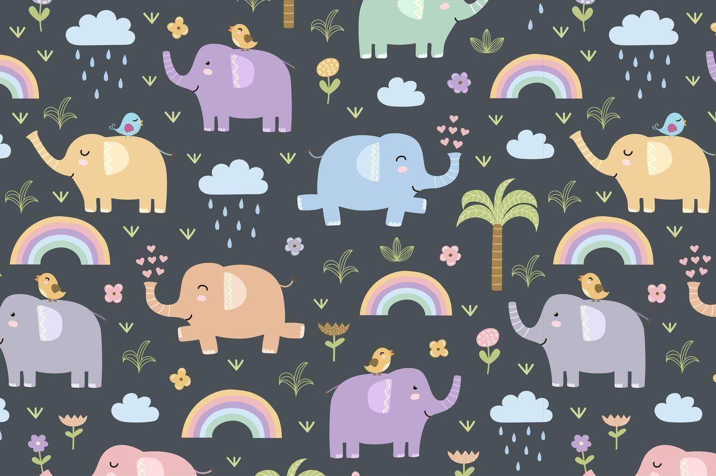Elephants Seamless Patterns Clipart By Juliyas Art