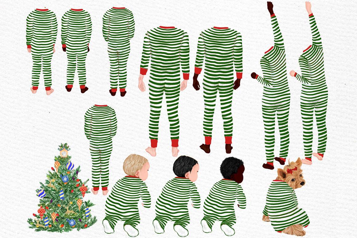 Christmas Family Clipart Matching Pajamas Christmas Tree By
