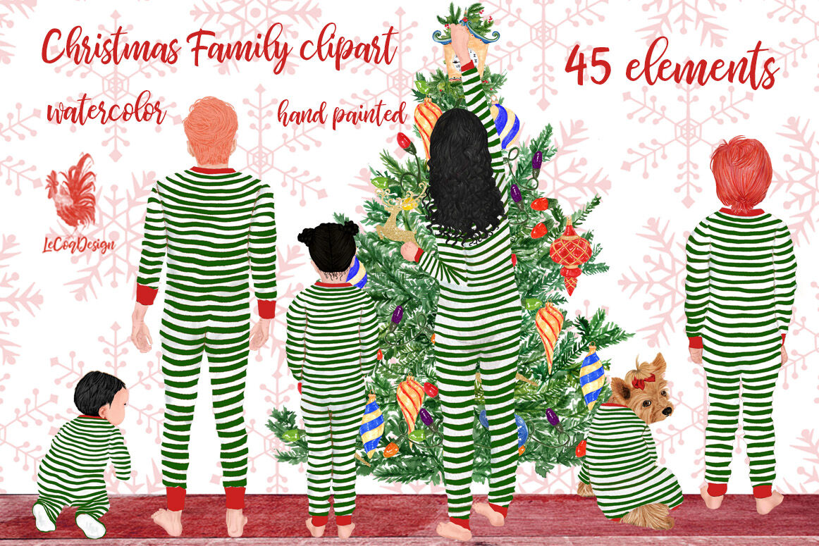 Christmas Family Clipart Matching Pajamas Christmas Tree By