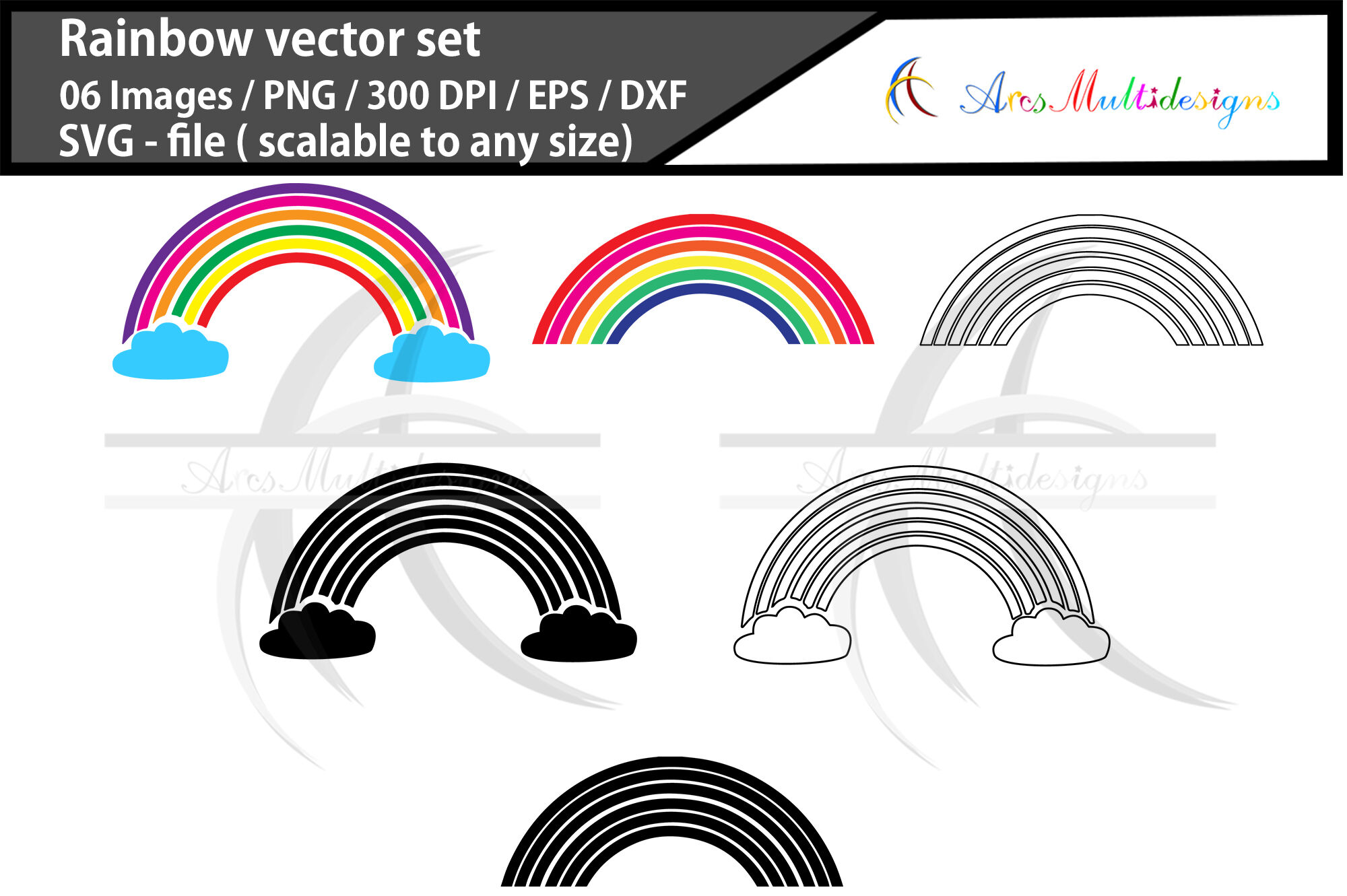 Rainbow Vector Graphics Svg Rainbow By Arcsmultidesignsshop