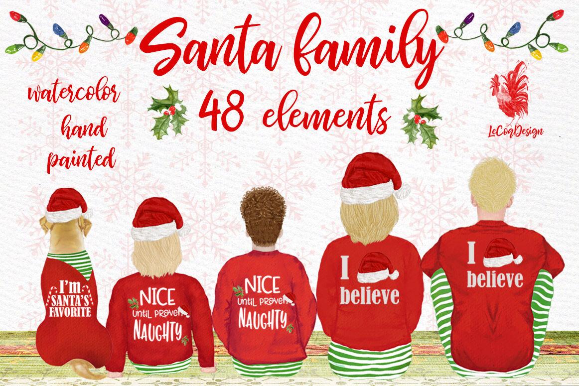Christmas Family Clipart Santa Hat Santa Matching Pajamas By