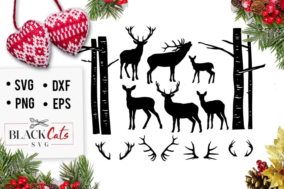 Deer Set 5 Christmas Deers Svg By Blackcatssvg Thehungryjpeg Com