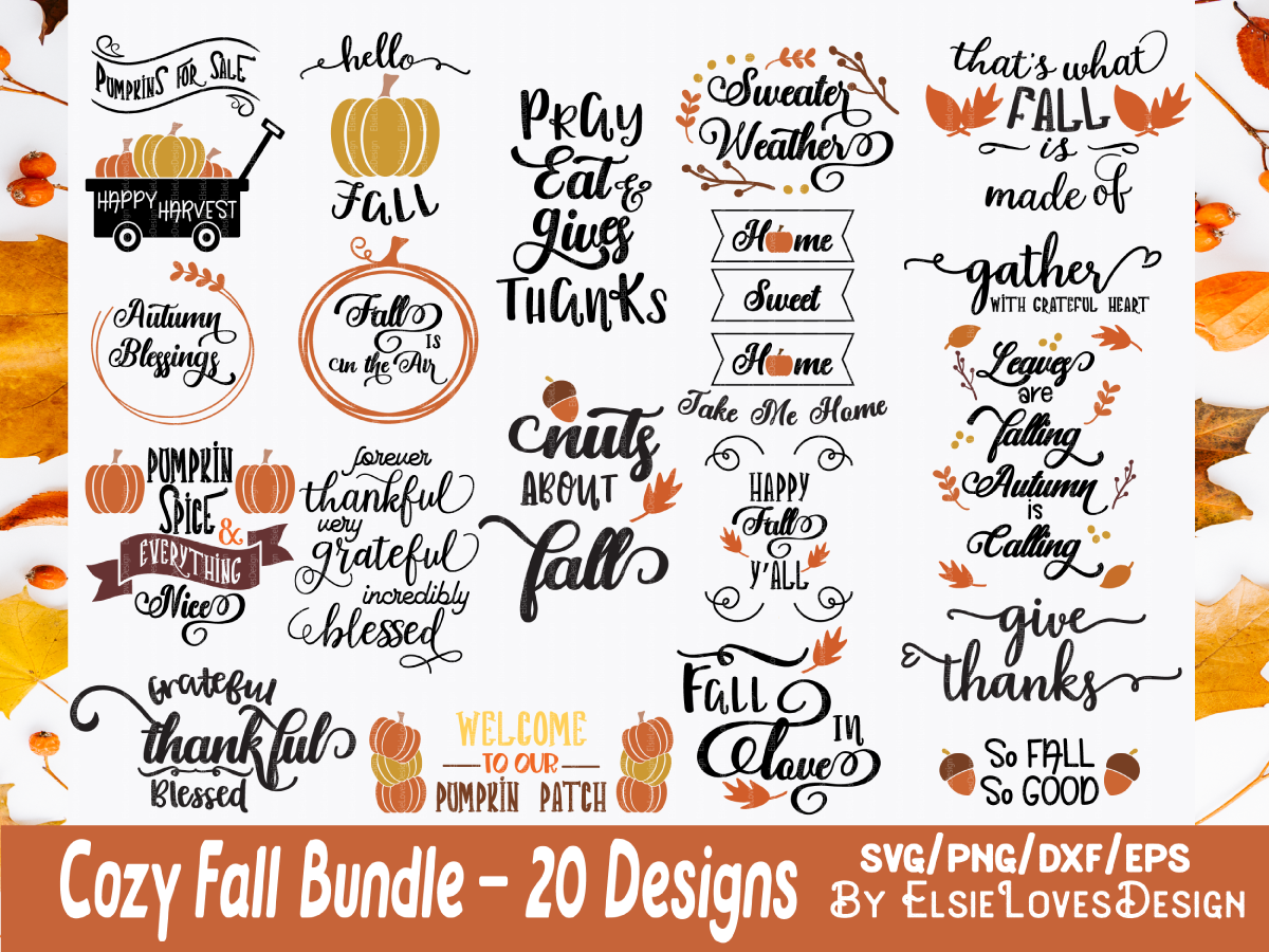 Fall Thanksgiving Quotes Svg Bundle By Elsielovesdesign