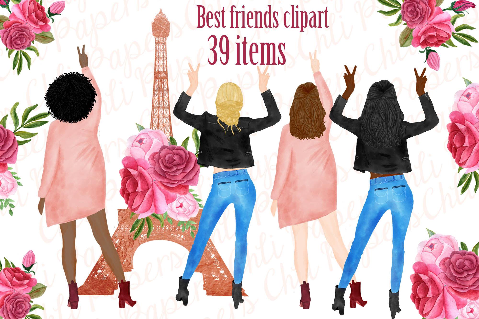 Best Friends Clipart Paris Clipart Eiffel Tower Clipart By