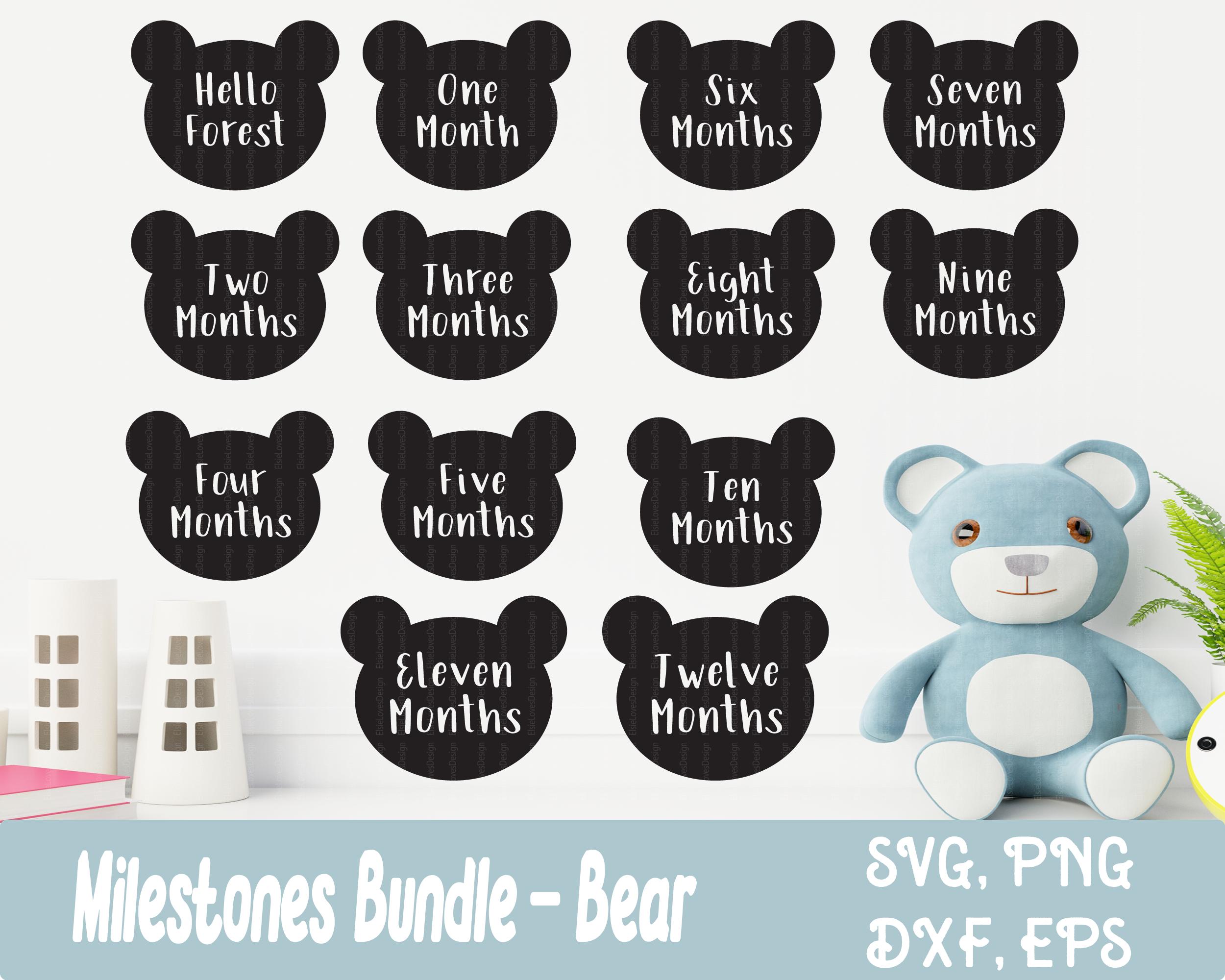 Baby Milestone Bear Svg Files By Elsielovesdesign