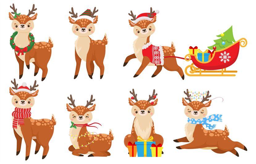 Cartoon Christmas Deer Cute Fawn In Winter Scarf Xmas Reindeer