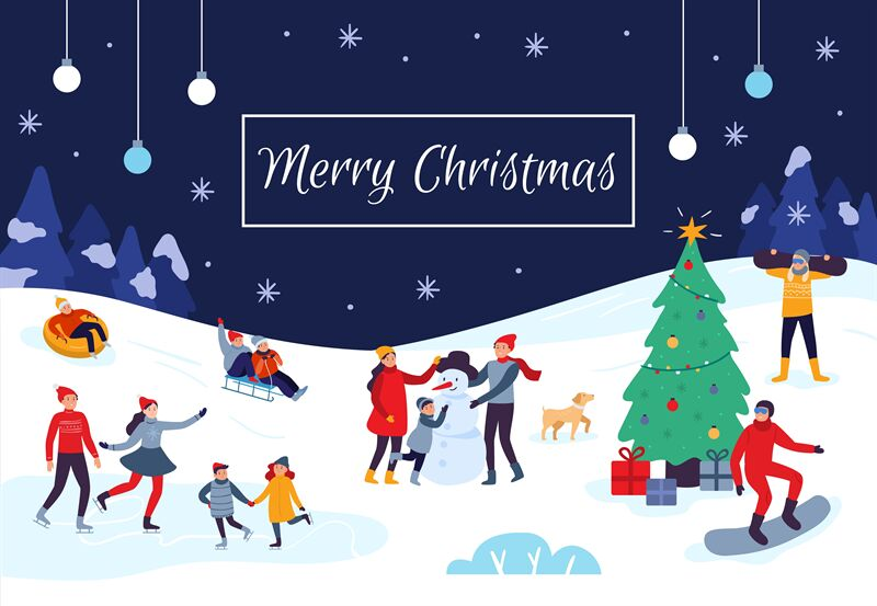 Winter People Merry Christmas Card Snow Activities Happy Kids