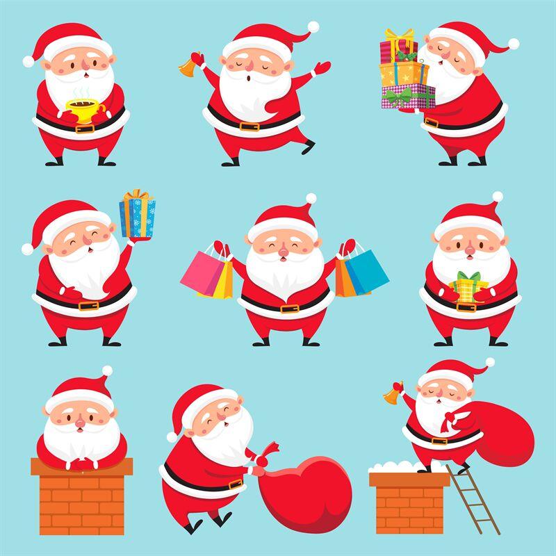 Cartoon Santa Character Christmas Cute Grandfather Claus