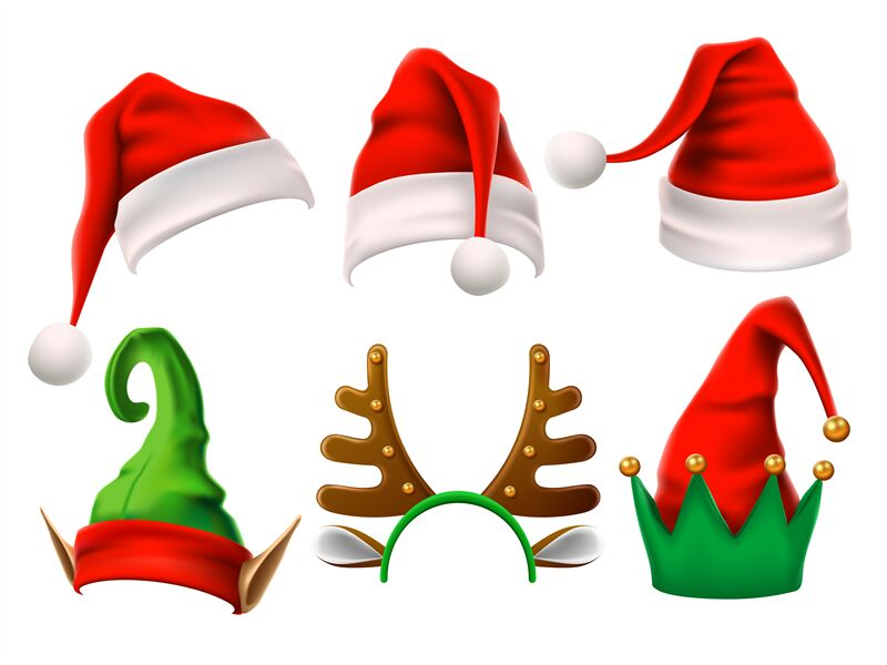 Christmas Holiday Hat Funny 3d Elf Snow Reindeer And Santa Claus