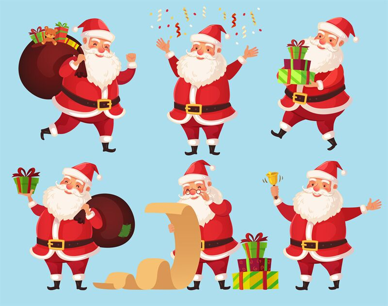 Christmas Santa Cartoon Character Funny Santa Claus With Xmas