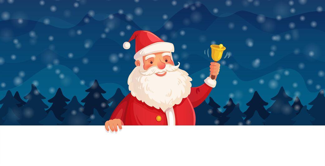 Cartoon Christmas Santa Claus Winter Holiday Happy New Year