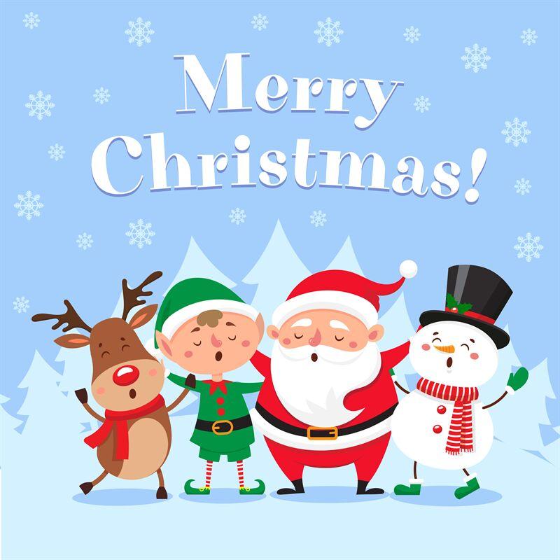 Cute Christmas Greeting Card Singing Santa Claus Funny Snowman