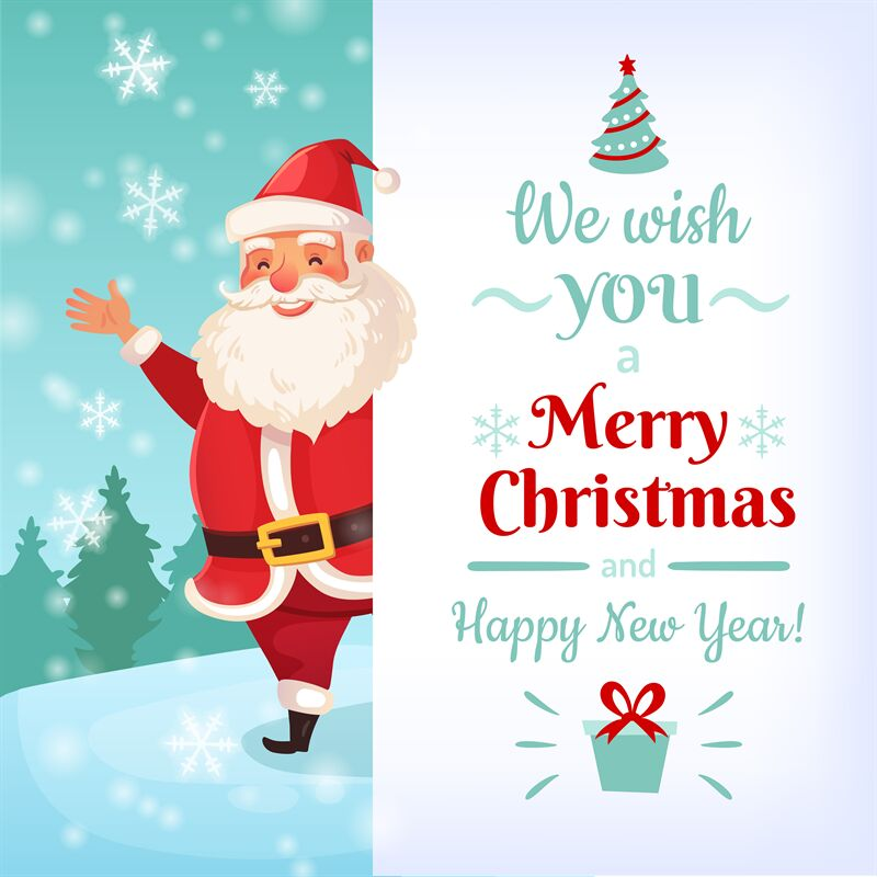Merry Christmas Card Santa Claus Greeting Cards Template Winter