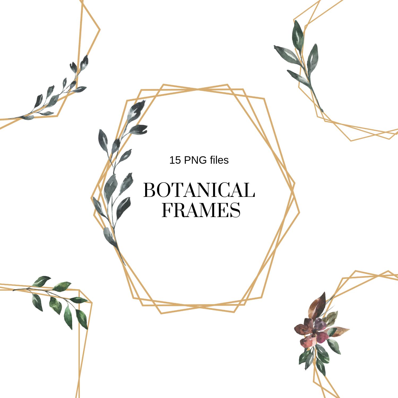 Elegant Minimal Geometric Frames Botanical Watercolor Frames