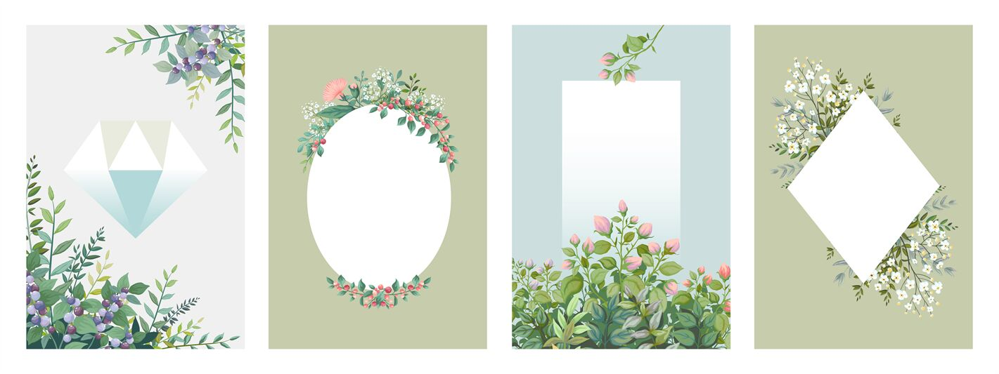 Greenery Posters Trendy Floral Frames Borders Of Green Leaves