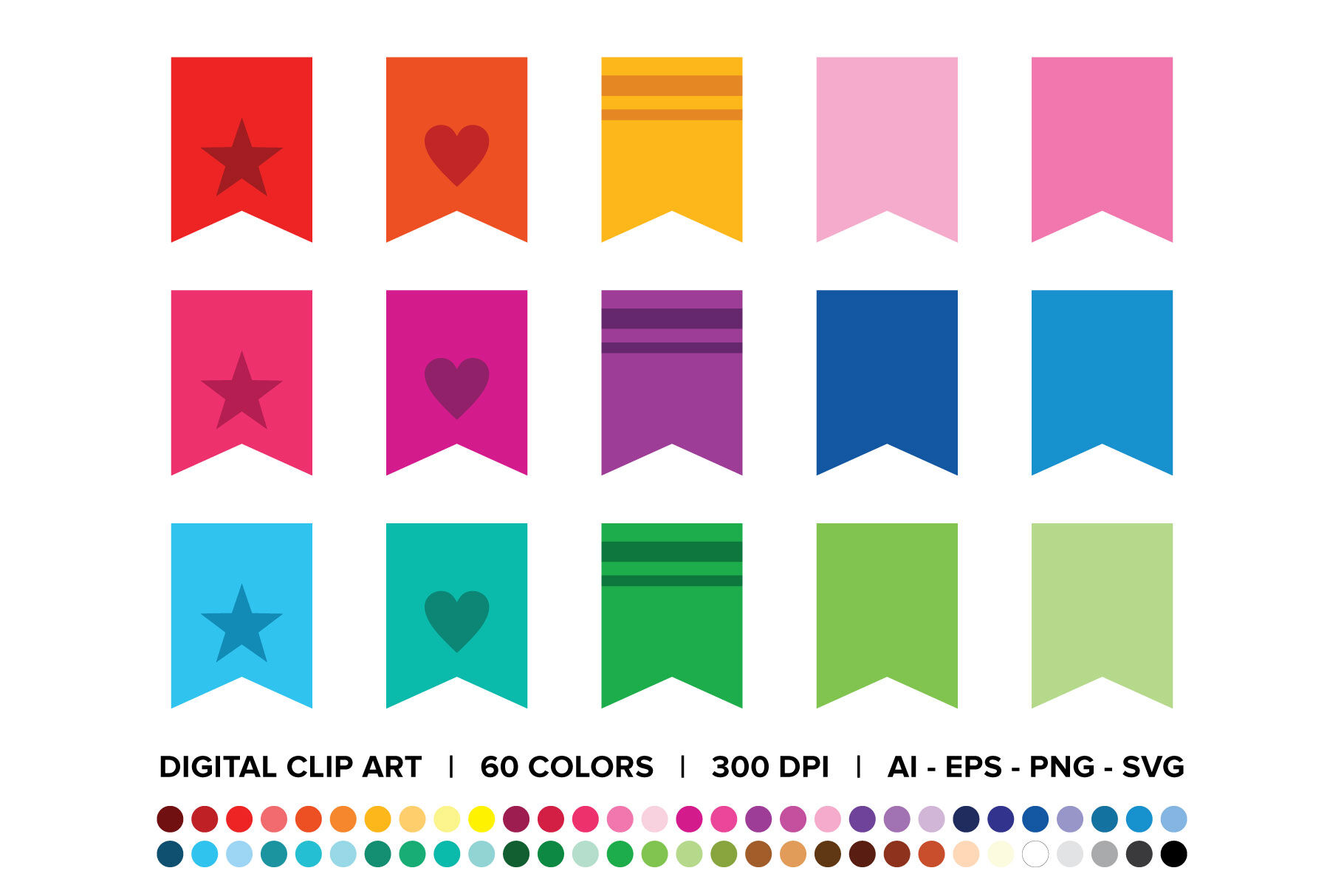 Bookmark Tab Flag Banner Clip Art Set By Running With Foxes
