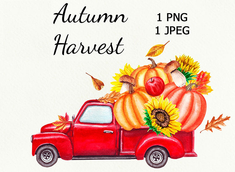 Red harvest truck with pumpkins watercolorRed harvest truck with pumpkins watercolorOther products you may like