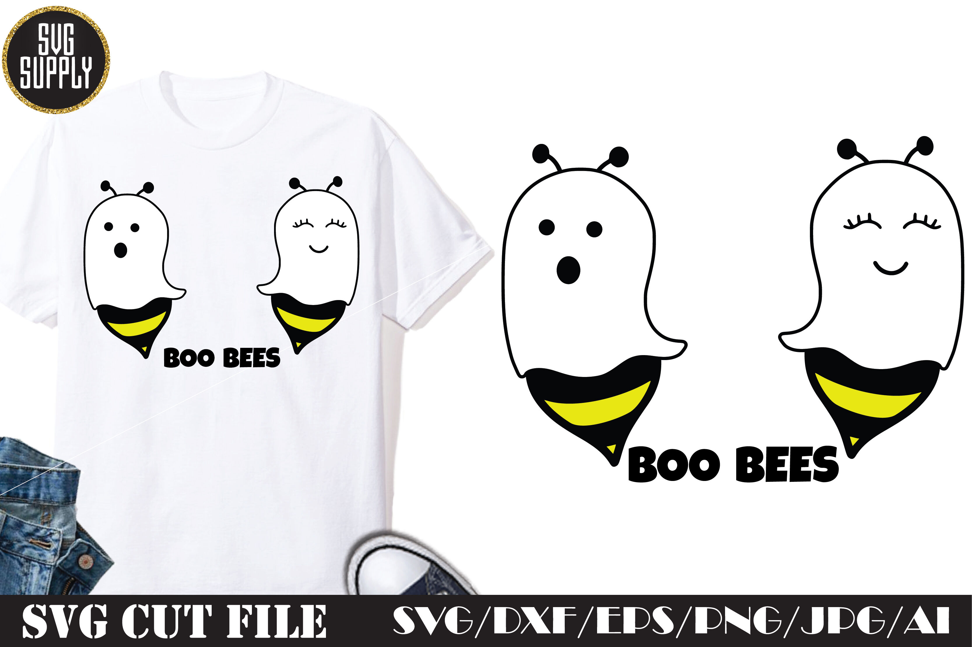 Boo Bees Halloween Svg Cut File By Svgsupply Thehungryjpeg Com