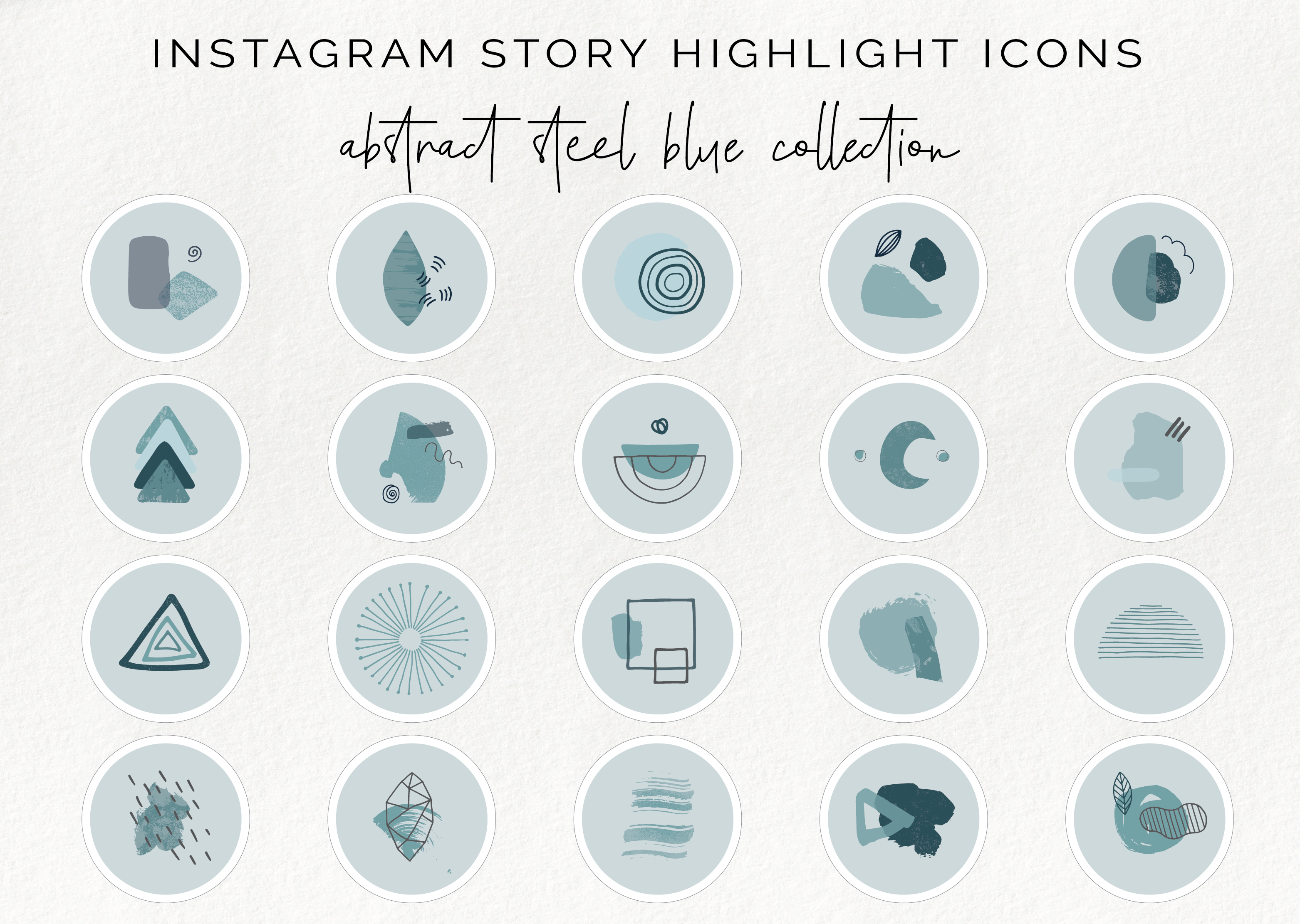 20 Instagram Story Highlight Icons Abstract Blue Story Covers By