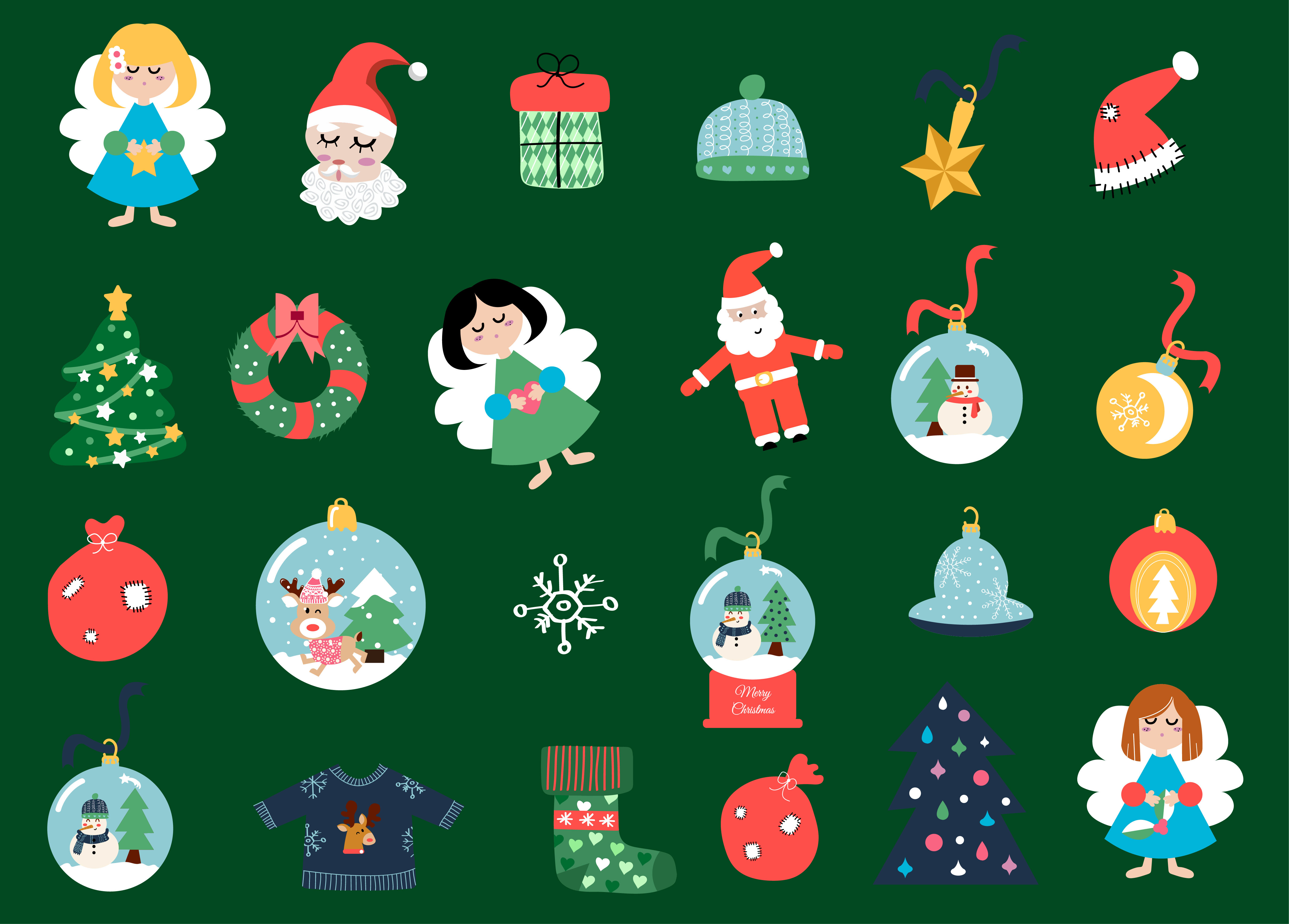 Merry Christmas Set And Patters By Wouldulearn Thehungryjpeg Com