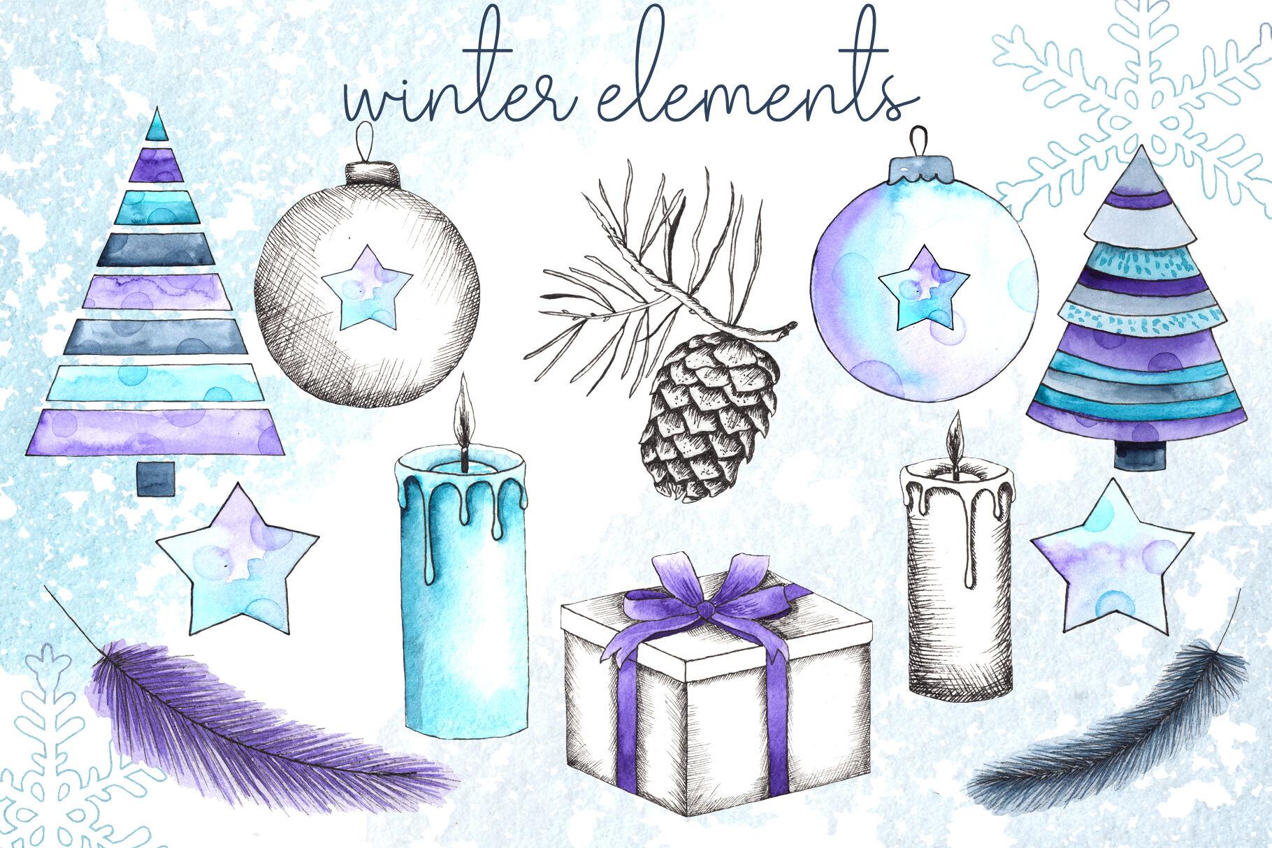 Let It Snow Winter Collection By Ana Sakuta Thehungryjpeg Com