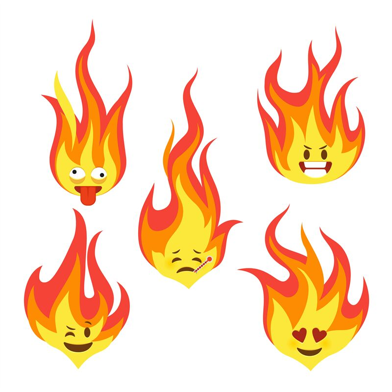 Fire Character Icons Hot Flame Cute Emoji With Angry And Smiles
