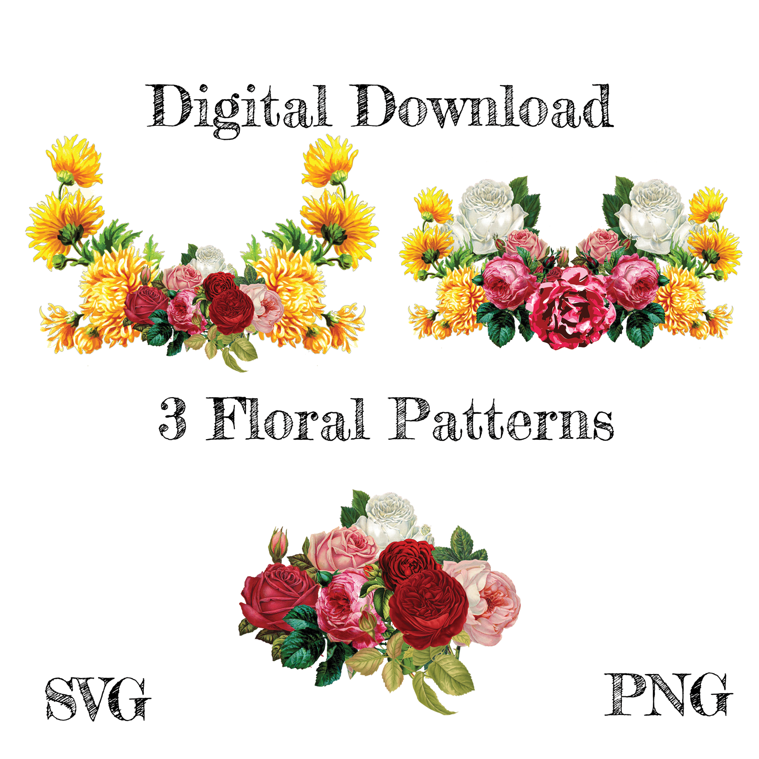 Vintage Flowers Bundle Svg Flowers Svg Decal Roses Floral Cut
