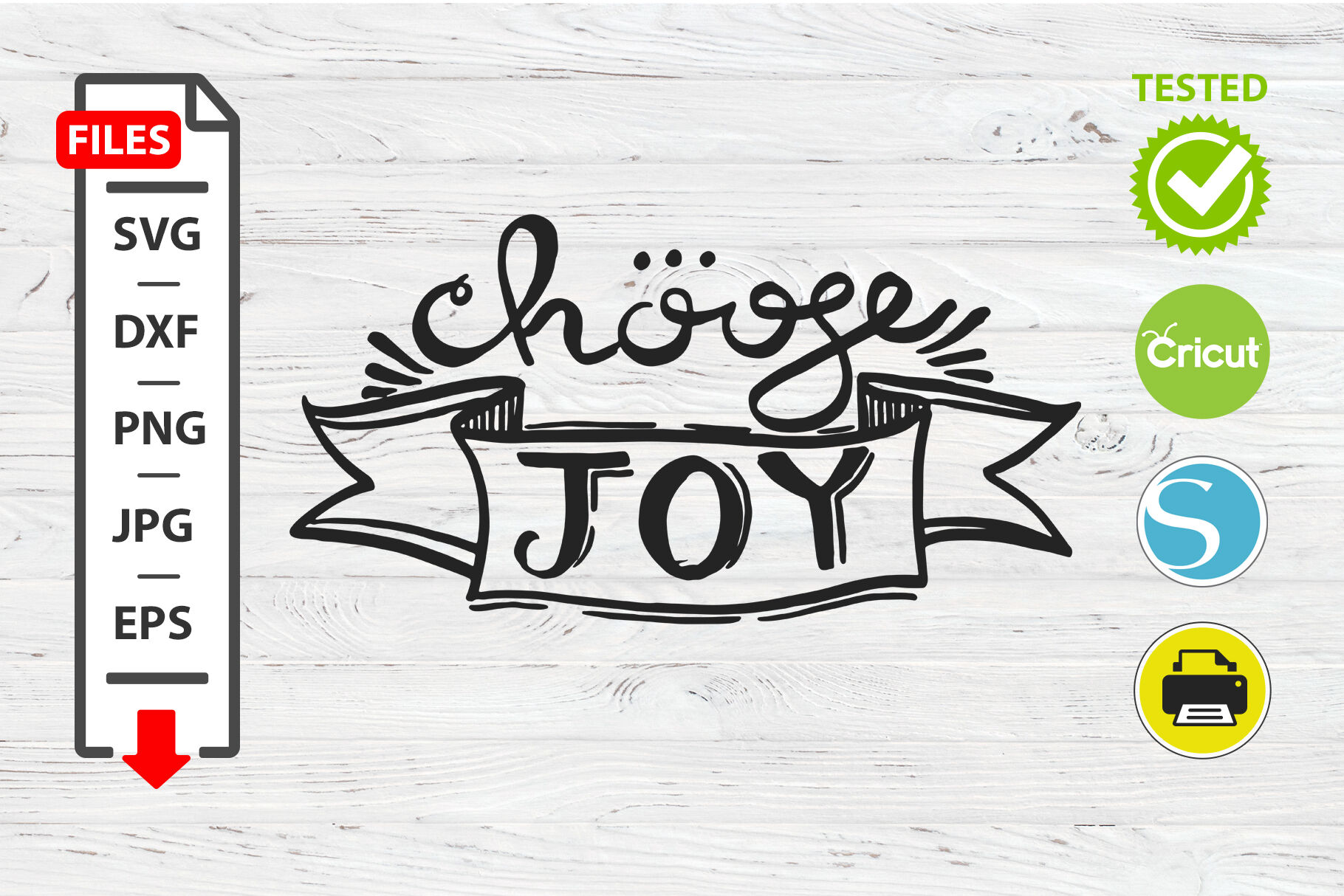 Chouse Joy Motivational Quote Svg Cricut Silhouette Design By