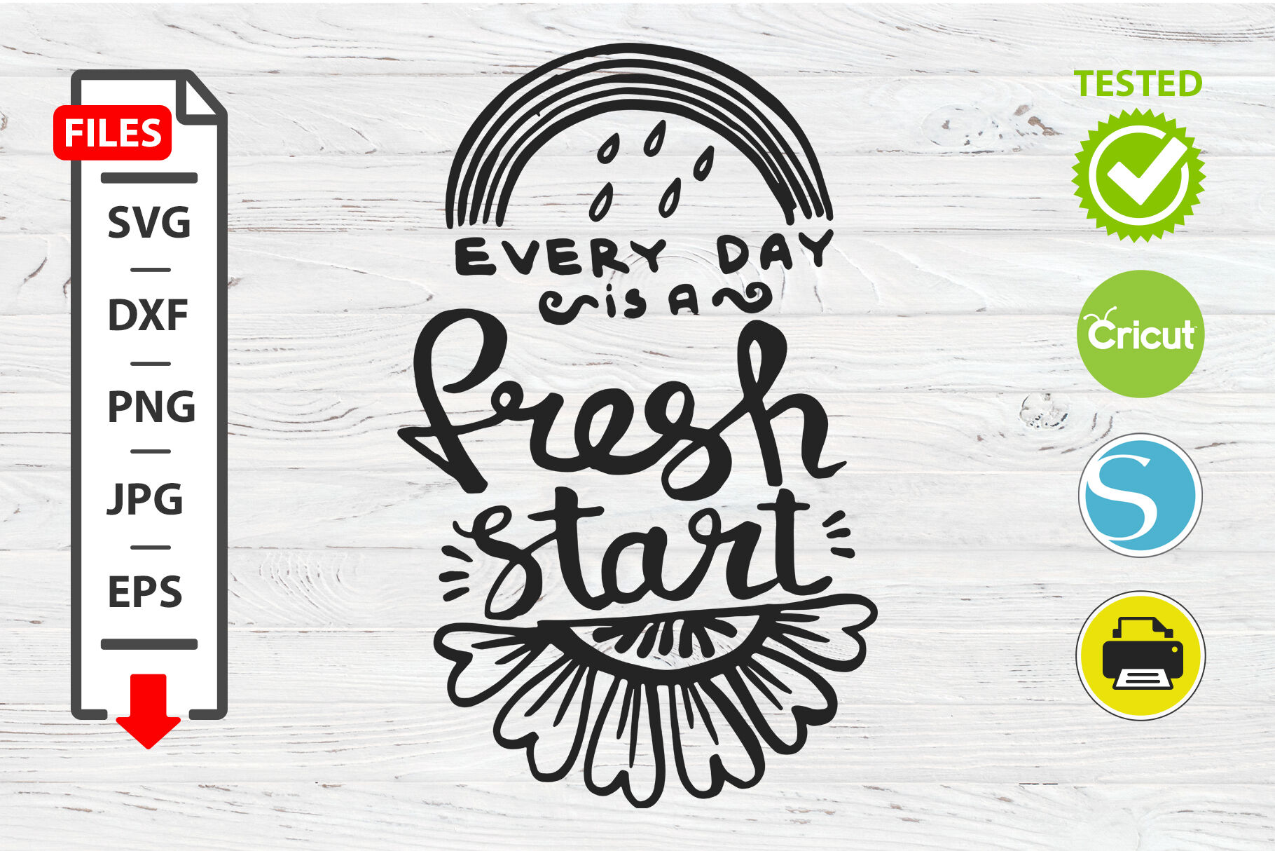Fresh Start Motivational Quote Svg Cricut Silhouette Design By