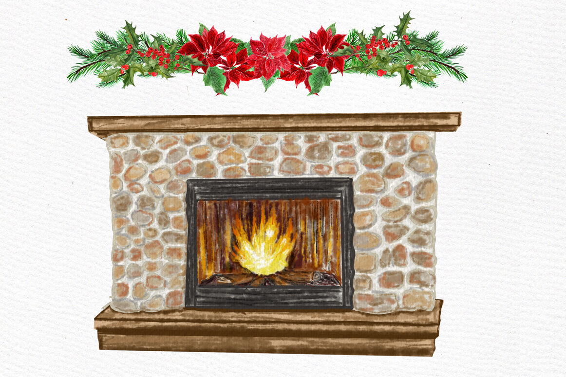 Christmas Girls Clipart, Fireplace and Stockings ...