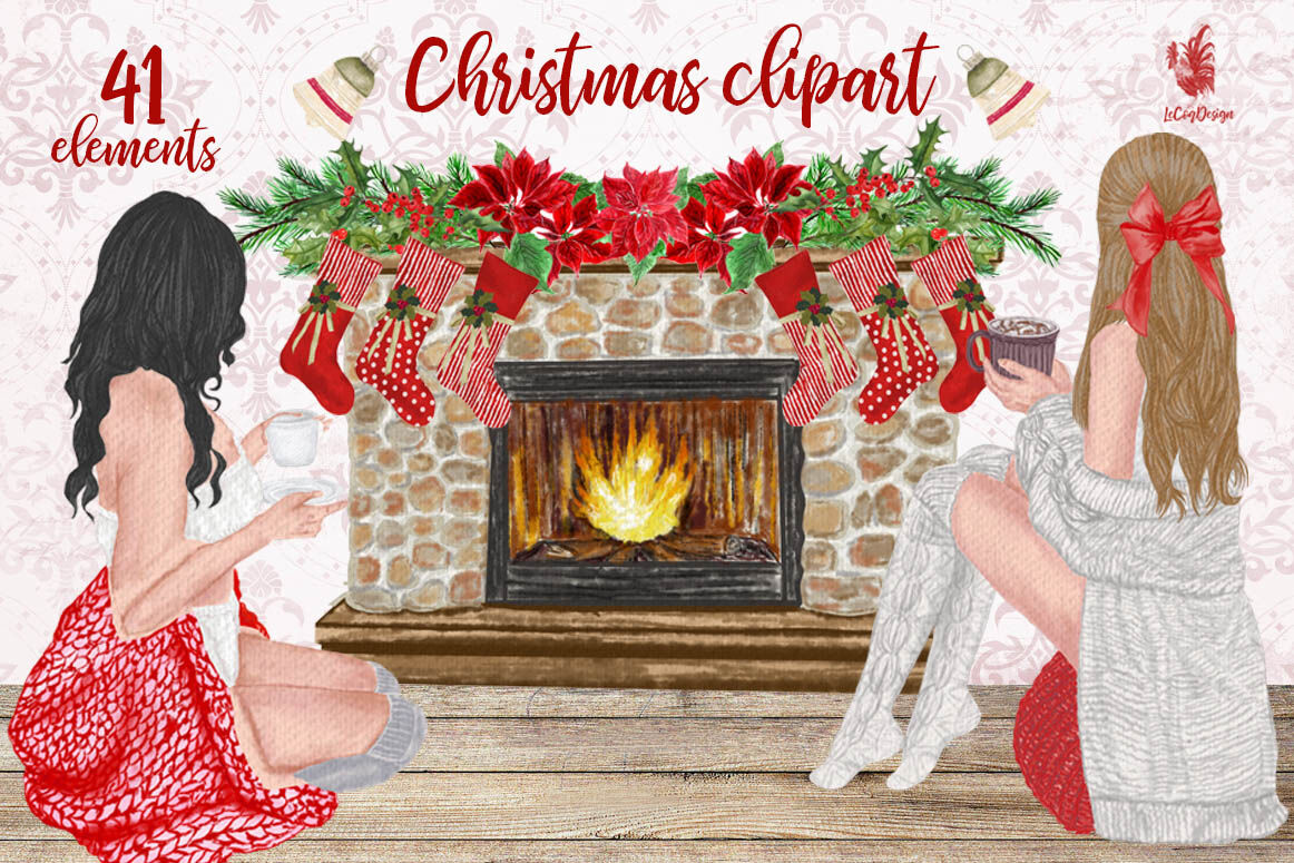 Christmas Girls Clipart Fireplace And Stockings Ornaments By