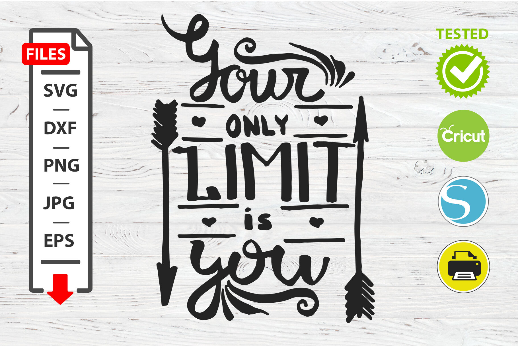Your Only Limit Is You Motivational Quote Svg Cricut Silhouette