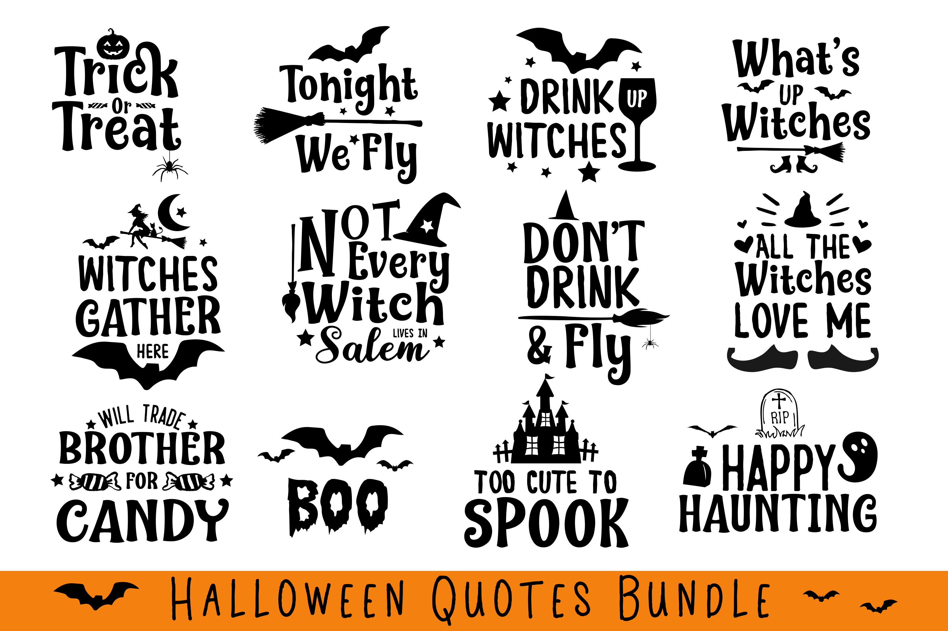 Halloween Quotes Bundle By Carrtoonz Thehungryjpeg Com
