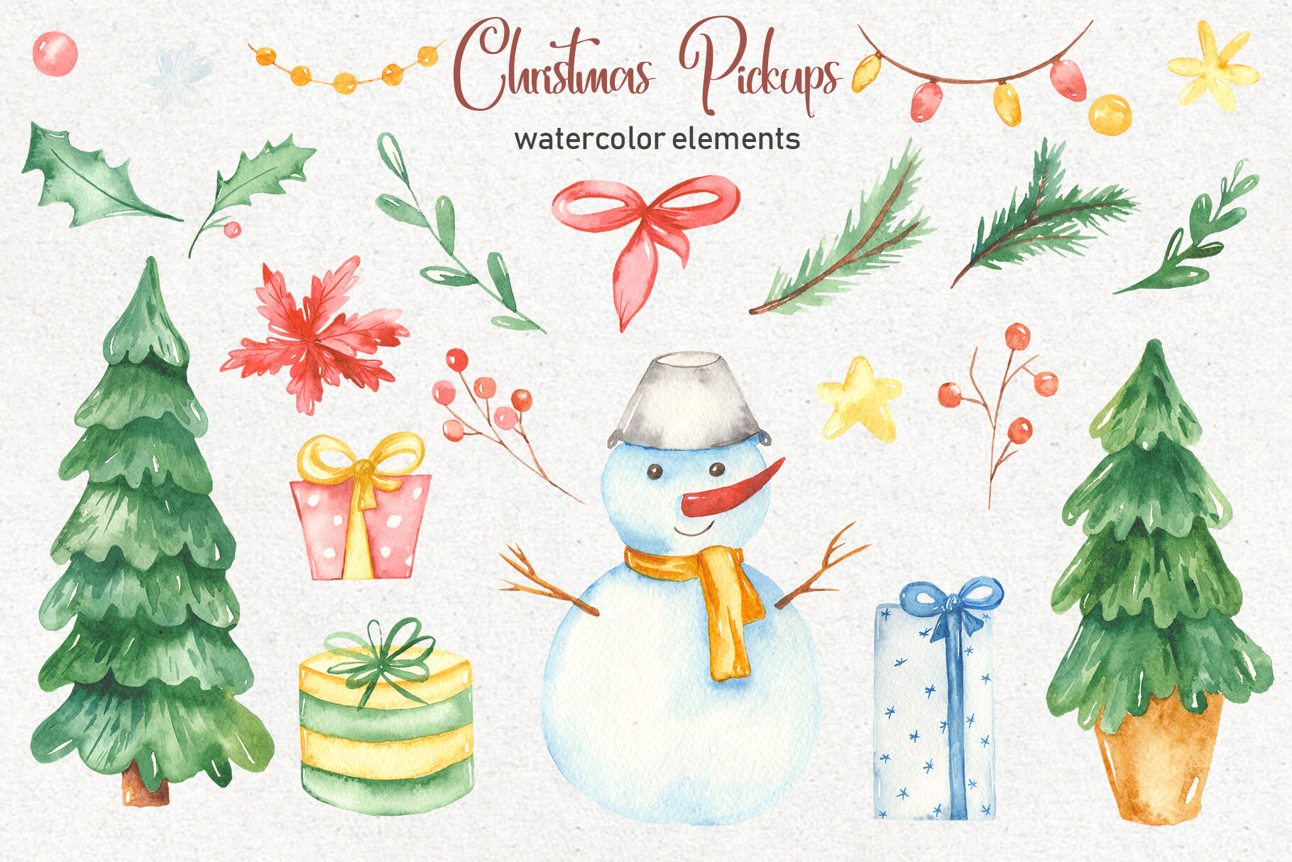 Christmas Pickup Watercolor Clipart And Christmas Elements By